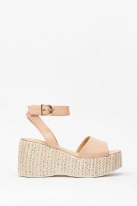 NASTY GAL Woven Right Platform Wedge Sandals – nude wedges