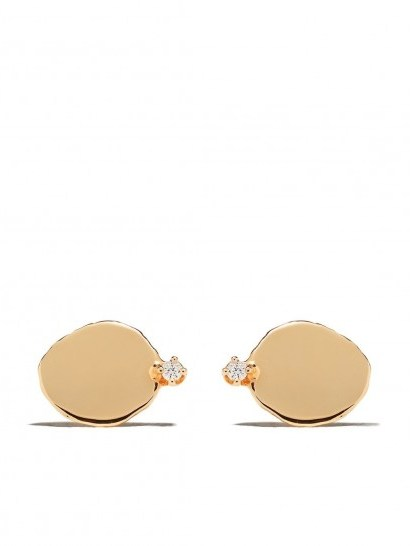 WWAKE 14kt yellow gold large Disc diamond stud earrings ~ flat luxe studs - flipped