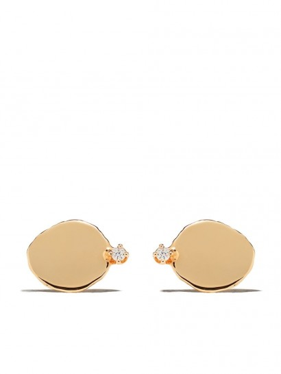 WWAKE 14kt yellow gold large Disc diamond stud earrings ~ flat luxe studs