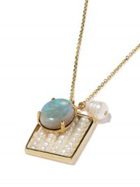 WWAKE 14kt yellow gold pearl and opal charm necklace ~ luxe necklaces ~ pentant charms ~ pearls & opals