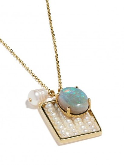WWAKE 14kt yellow gold pearl and opal charm necklace ~ luxe necklaces ~ pentant charms ~ pearls & opals - flipped