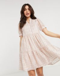 Y.A.S smock mini dress in metallic pink check