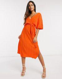 Y.A.S wrap midi dress with kimono sleeve in orange plisse