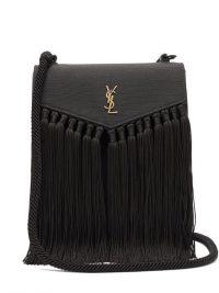 SAINT LAURENT YSL-plaque tasselled leather satchel ~ black fringed handbags