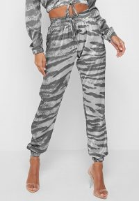 Manière De Voir ZEBRA SATIN JOGGERS GREY ~ animal print jogging bottoms