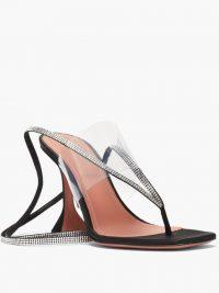 AMINA MUADDI Zula crystal-embellished suede thong sandals ~ strappy high heel thonged sandal