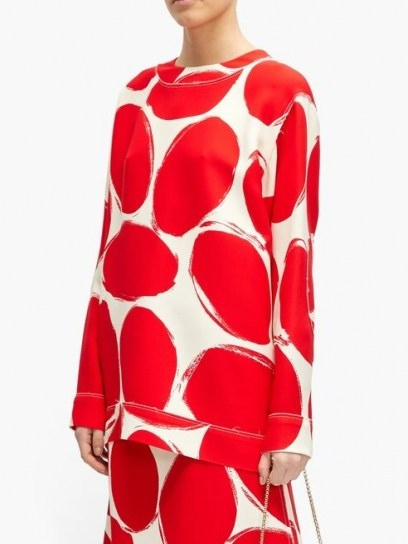 MARNI Abstract elbow-patch polka-dot sweatshirt ~ red and white retro print sweatshirts - flipped