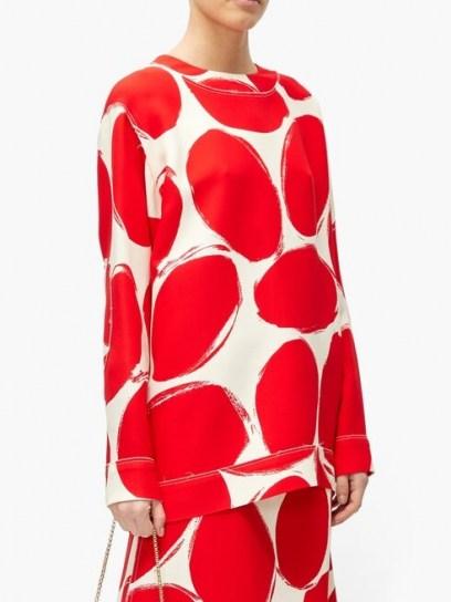MARNI Abstract elbow-patch polka-dot sweatshirt ~ red and white retro print sweatshirts