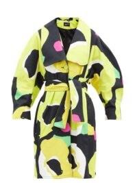 ELZINGA Abstract poppy-print cotton-poplin belted coat ~ bold floral print coats