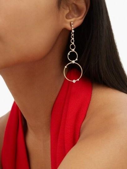 FERNANDO JORGE Aerial Loops diamond & 18kt gold drop earrings ~ longline multi hoops - flipped