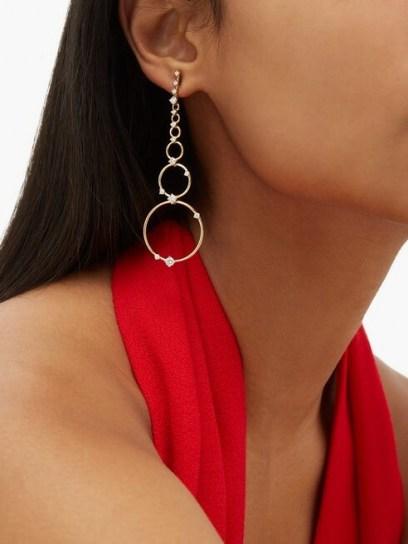 FERNANDO JORGE Aerial Loops diamond & 18kt gold drop earrings ~ longline multi hoops