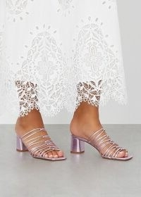 AEYDE Pearl 65 metallic purple leather sandals – strappy block heel mules