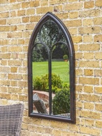 John Lewis – Afur Outdoor Garden Wall Arched Mirror, 112 x 61cm, Antique Noir