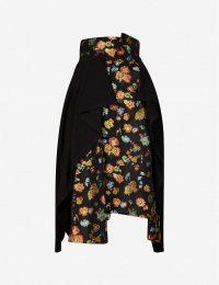AGANOVICH Floral jacquard-print woven midi skirt ~ panel overlay skirts