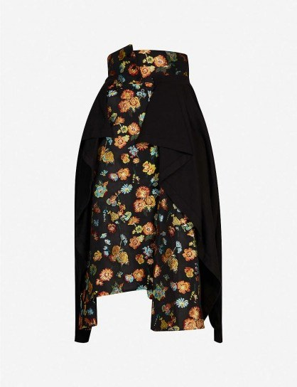 AGANOVICH Floral jacquard-print woven midi skirt ~ panel overlay skirts - flipped