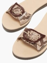 ANCIENT GREEK SANDALS Aglaia wing-buckle python effect-leather slides ~ beige and brown buckle detail flats