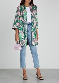 ALICE + OLIVIA Lynn printed reversible satin kimono jacket / tropical prints