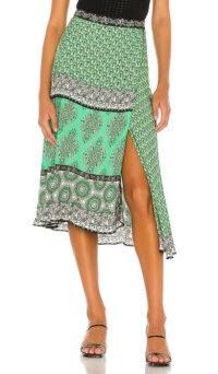 Alice + Olivia Nanette Mock Wrap Midi Skirt Boho Romance & Jade Multi | green mixed prints