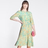 L.K. BENNETT ALICIA IMPRESSIONIST FLORAL PRINT SILK TEA DRESS / bow detail dresses