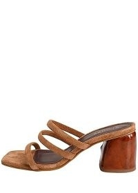 ALOHAS Indiana suede heeled mules ~ three strap chunky heel mule