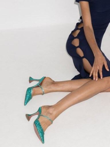 Amina Muaddi Gilda 95 glitter mules ~ glittering blue mule high heels - flipped