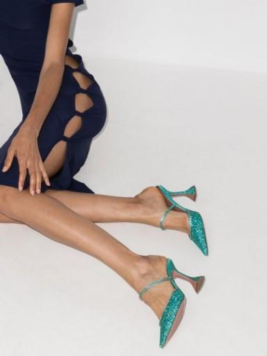 Amina Muaddi Gilda 95 glitter mules ~ glittering blue mule high heels