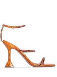 Amina Muaddi Gilda 95mm orange-leather crystal sandals