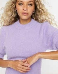 & Other Stories fluffy short sleeve jumper in purple | luxurious looking knits