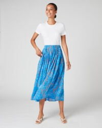 JIGSAW ANIMAL FLORAL PLEATED SKIRT Azure Blue / skirts with swish