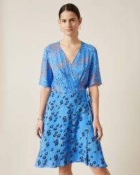 JIGSAW ANIMAL FLORAL PRINT WRAP DRESS / blue mixed print dresses
