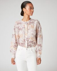 JIGSAW ANIMAL FLORAL VOILE BLOUSE / lightweight feminine blouses