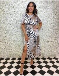 FOREVER UNIQUE Animal Print Mix Midi Dress / glamorous multi prints
