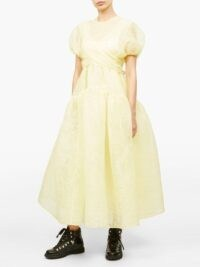 CECILIE BAHNSEN Anna wrap-front pintucked organza midi dress in yellow ~ voluminous dresses