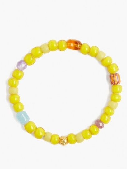 MUSA BY BOBBIE Aquamarine, amethyst & 18kt gold bead bracelet ~ vibrant yellow beaded bracelets ~ summer accessory