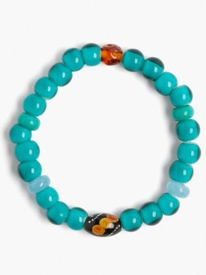 MUSA BY BOBBIE Aquamarine, turquoise & amber bead bracelet ~ blue beaded bracelets - flipped