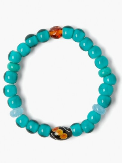 MUSA BY BOBBIE Aquamarine, turquoise & amber bead bracelet ~ blue beaded bracelets