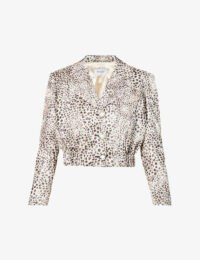 ART DEALER Dua cheetah-print cropped satin blazer / crop hem jackets