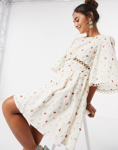ASOS DESIGN all over embroidered mini skater dress with lace trim in cream / wide sleeve fit and flare