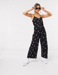 ASOS DESIGN cami jumpsuit with button front in mono spot print / casual summer jumpsuits