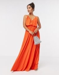 ASOS DESIGN cami plunge maxi dress with blouson top in orange / thin shoulder strap maxi