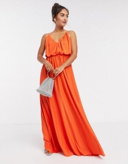 ASOS DESIGN cami plunge maxi dress with blouson top in orange / thin shoulder strap maxi - flipped