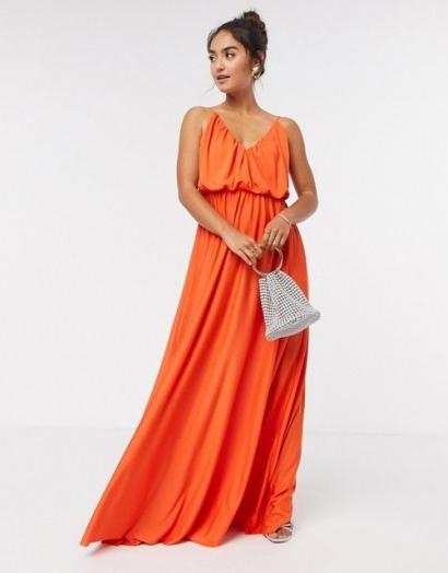 ASOS DESIGN cami plunge maxi dress with blouson top in orange / thin shoulder strap maxi