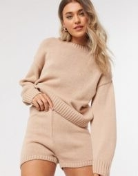 ASOS DESIGN co-ord crew neck jumper with long sleeve in pink | knitted co-ords
