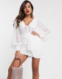 ASOS DESIGN corset detail blouson sleeve mini dress with drape skirt | LWD