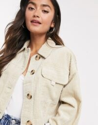 ASOS DESIGN cropped jumbo cord jacket in cream ~ corduroy ~ textured fabrics