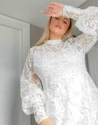 ASOS DESIGN Curve Luxe high neck long sleeve mini dress with embroidered sequins in white | semi sheer plus size dresses