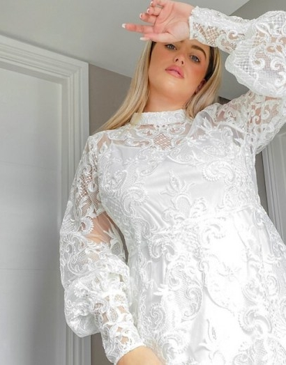 ASOS DESIGN Curve Luxe high neck long sleeve mini dress with embroidered sequins in white   semi sheer plus size dresses