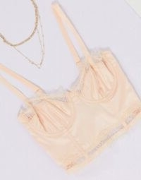 ASOS DESIGN Jessi satin longline underwire bra with lace ~ vintage look lingerie ~ non padded bras