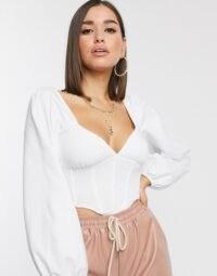 ASOS DESIGN long sleeve corset in white