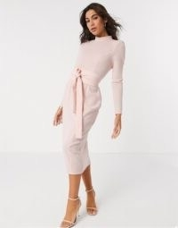 ASOS DESIGN long sleeve midi dress with obi belt in blush